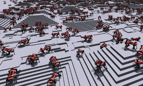 Simulated doglike robots.